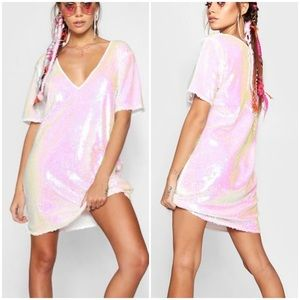 New Boohoo Anabelle sequin shift dress size 4